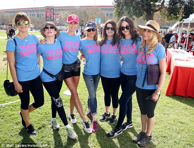 Celebrity support: Katharine McPhee, Rose McGowan, Brooke Burns, Renee, Nanci, Emmy Rossum and Rosanna Arquette (from left)