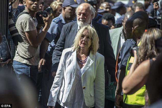 Reeva Steenkamp's parents, Barry and June Steenkamp, arrive at the High Court for the final day of sentencing