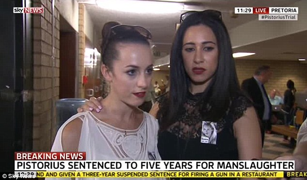 'Today is about justice': Sisters Gina and Kim Myers, who lived with Miss Steenkamp in Johannesburg, said nothing would bring the model back no matter how harsh the sentence, but it would help the healing process