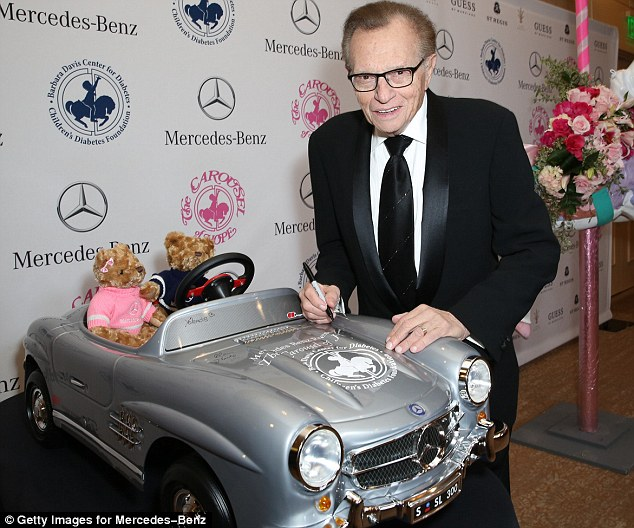 So much to say: Larry King spent much of late October 19 and early October 20 talking about random subjects on Twitter, pictured here earlier this month at an event in Beverly Hills