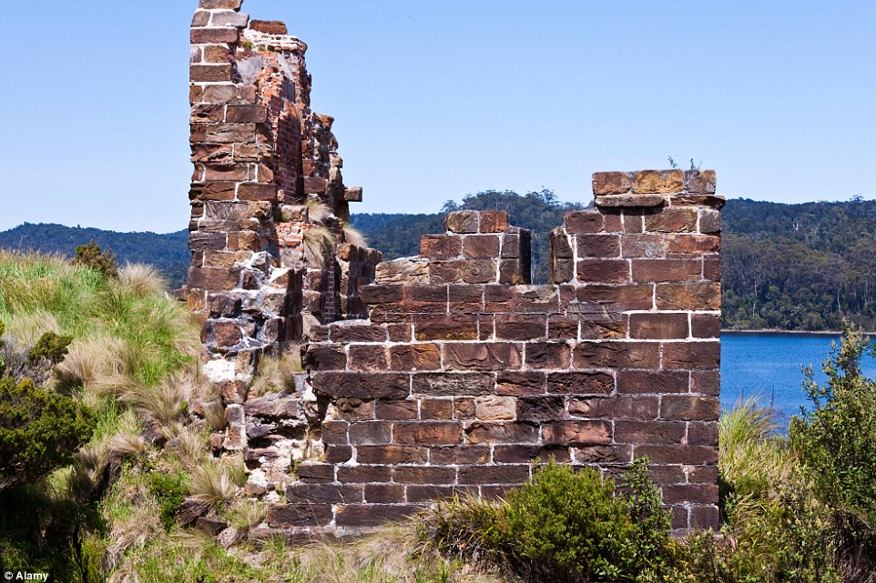 Ruins of an old convict penal settlement still stand on Sarah Island in Maquarie Harbour, Strahan