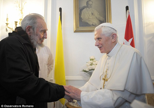 Pope Benedict meets with Fidel Castro during his 2012 visit to the tiny communist island