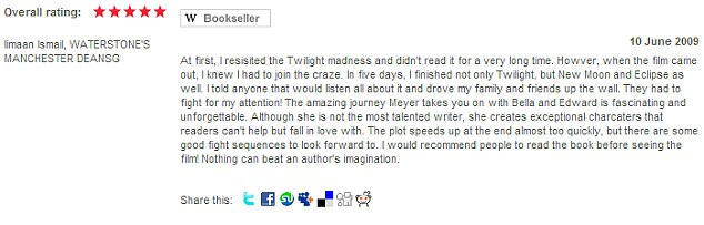 Bookworm: The Cambridge graduate won Waterstones' part-time bookseller of the year award in 2010 and was a keen reviewer of books online, including this expressing her love for the Twilight saga