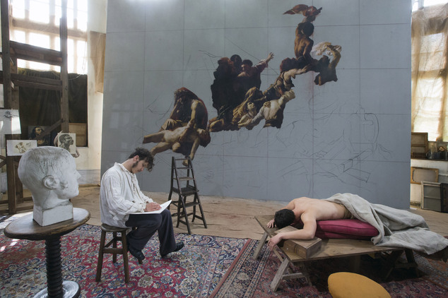In this photo taken Saturday, May 3, 2014, French actor Nathan Gabily, performing in the role of Theodore Gericault, left, makes a sketch of a model performi...