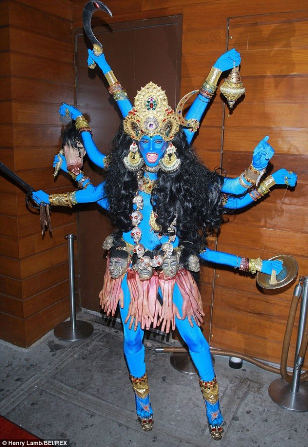 Beautiful in blue: She dressed up as the Hindu goddess Kali with eight arms in 2008