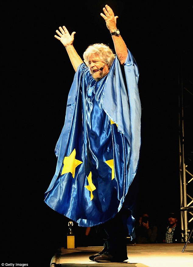 Italy's 'Five Star Party' is led by radical comedian Beppe Grillo (pictured) - one of the party's MPs says their alliance with 'xenophobe' Farage 'gives me the shivers' but the reason for the alliance is financial