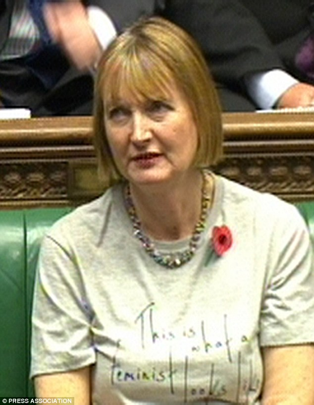 Posturing: Harriet Harman wearing the T-shirt during Prime Minister's Questions in the House of Commons