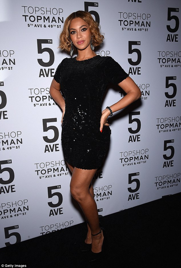 Sparkle and shine: Beyonce looked stunning in a $130 black sequin mini dressat the Topshop Topman New York City flagship opening dinner at Grand Central Terminal on Tuesday