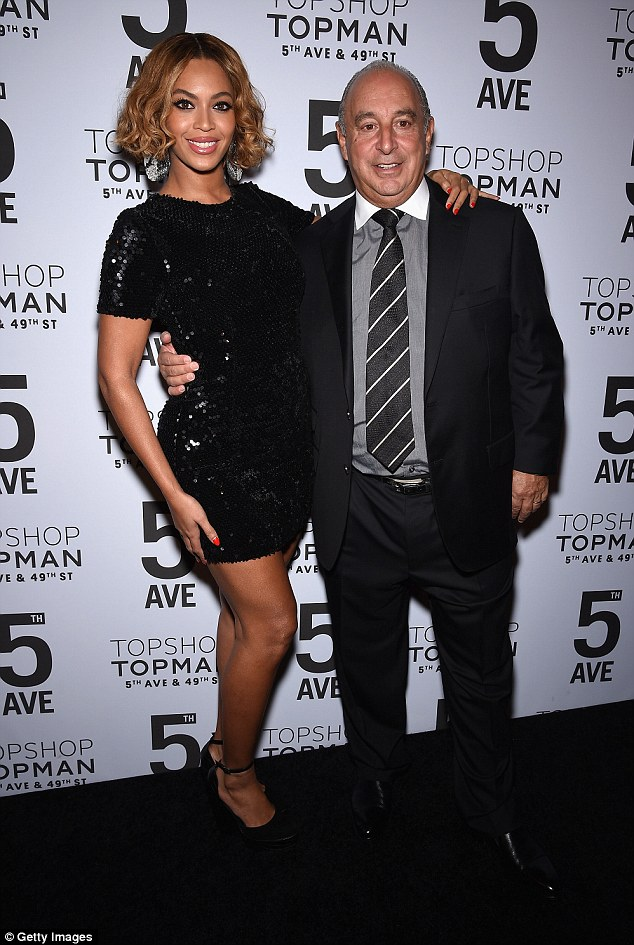 Mogul in the making: Queen Bey is launching her own collection of activewear with Topshop founder Sir Phillip Green, pictured with her at the event