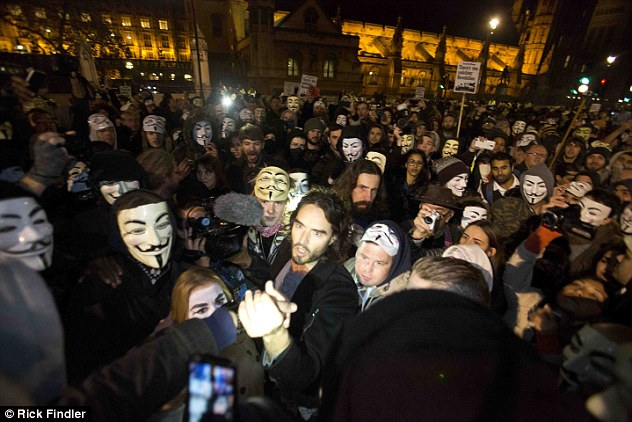 The anti-capitalist protest saw hundreds of activists wear masks depicting the sinister face of Guy Fawkes