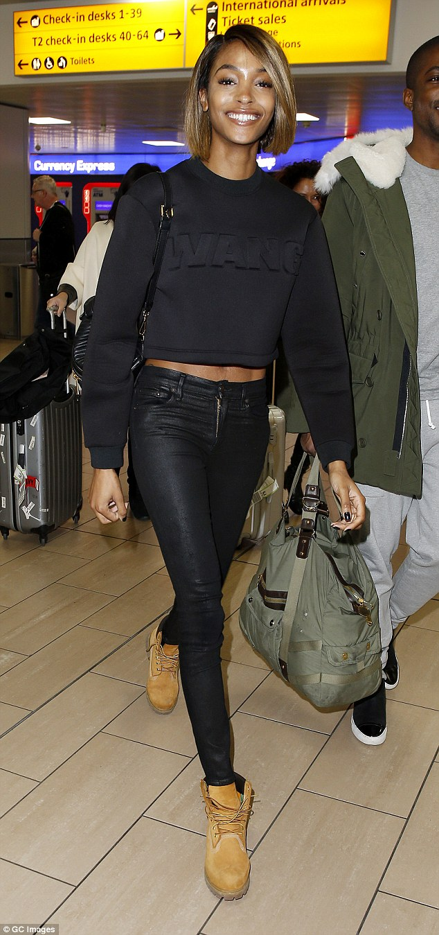 Leading the way: Jourdan Dunn looked radiant as she arrived at Glasgow Airport on Sunday afternoon just a few hours before the big MTV European Music Awards kick-off