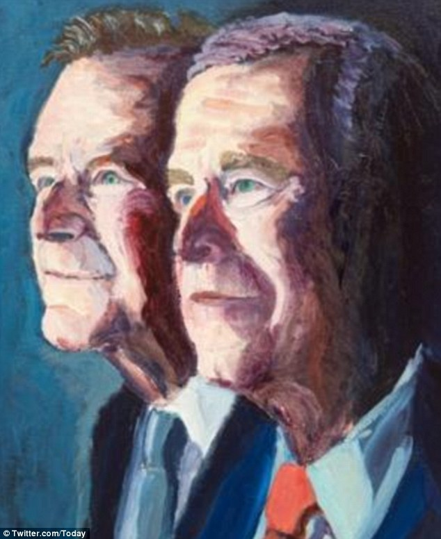 George W Bush Unveils Painting Of Himself Alongside Father
