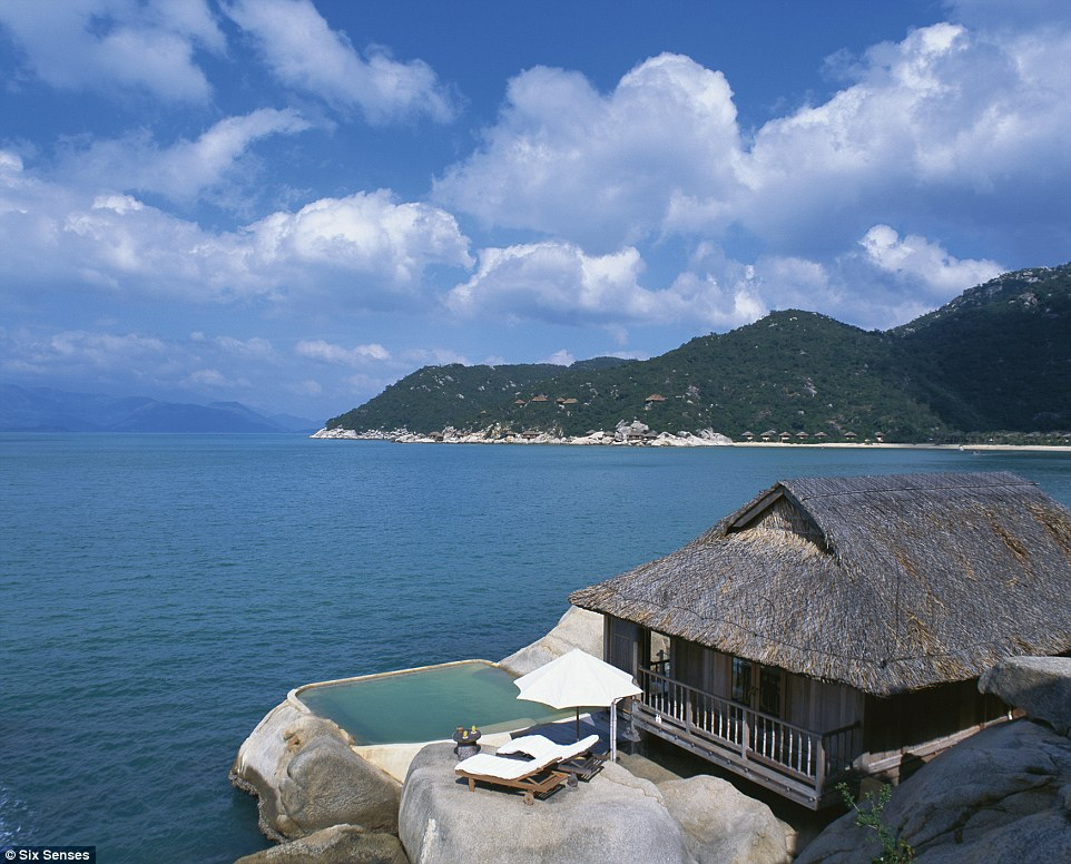 Water Villa number 5 at the Six Senses hotel is perched on the edge of Ninh Van Bay in Nha Trang, Vietnam