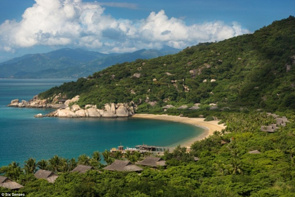 The water villas at the Six Senses Hotel in Ninh Van Bay, Nha Trang, in Vietnam