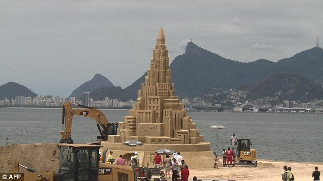 After it is measured the sandcastle will be destroyed on a beach in the Brazilian city of Niteroi