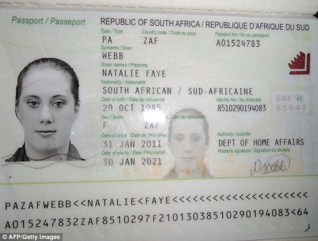 Toporov afirmó que Lewthwaite utilizó un pasaporte de Sudáfrica en un nombre falso - Natalie Faye Webb - para entrar en Ucrania, pero esta fotografía podría haber sido descargado de Internet