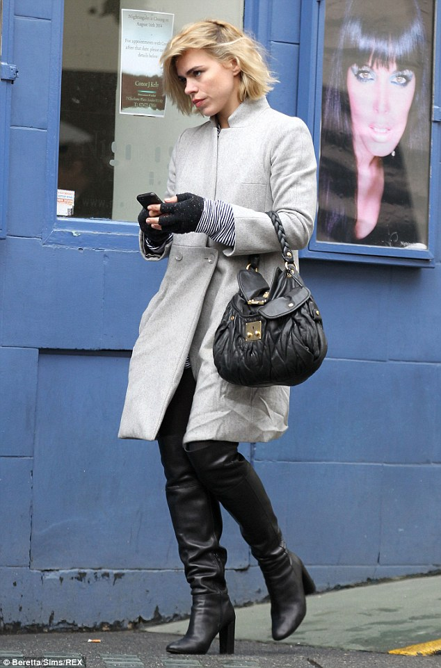 Billie Piper Strides Through London With Messy Bob And Thigh High Boots Daily Mail Online