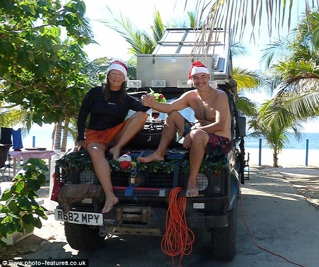 Feeling festive: Jayne Wilkinson, 56, and David Turner, 54, celebrated Christmas in Acapulco, Mexico