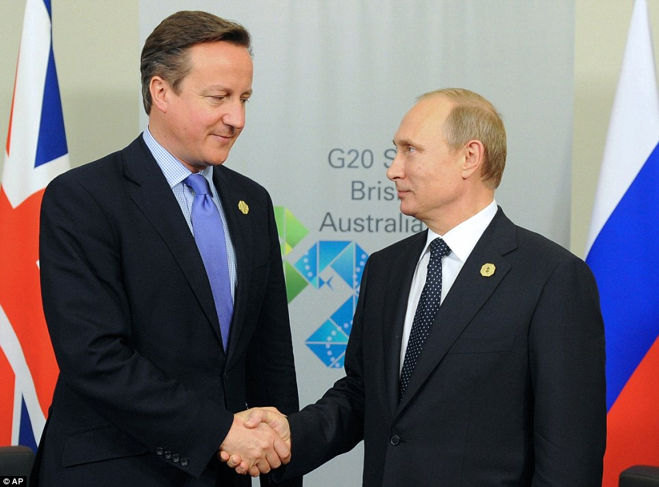 As day turned into evening, Mr Putin hosted a 'tense' meeting with U.K. Prime Minister David Cameron and French President Francois Hollande, and there was intense speculation afterwards - denied by the Kremlin - that the Russian leader would leave the summit early