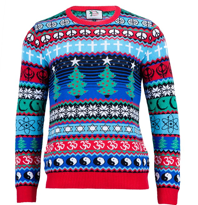 beautiful (or hideous) multi-religious holiday sweater