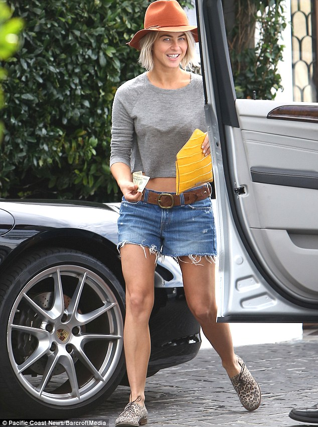Julianne Hough Swaps Denim Shorts For Sleek Striped