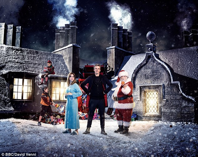 Christmas schedule: The traditional Doctor Who special will be on the BBC. Pictured are Wolf (Nathan McMullen), Ian (Dan Starky), The Doctor (Peter Capaldi), Clara (Jenna Coleman) and Santa Claus (Nick Frost)