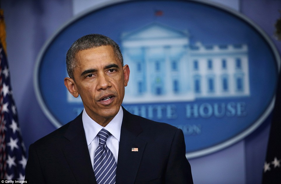Stay calm: President Obama held a press conference shortly after the grand jury's decision was announced, asking protesters to demonstrate peacefully in the streets of Ferguson. The president's directives were not followed by the demonstrators in Missouri