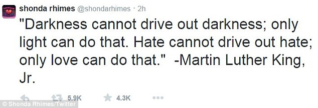 Quote: Scandal creator Shonda Rhimes quoted Martin Luther King following the verdict