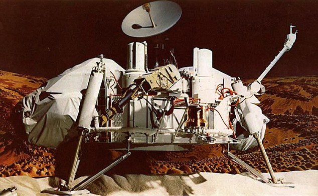 The woman, named 'Jackie', called in to American radio station, Coast to Coast AM, with a 'confession' that she had witnessed suited men running on the red planet in 1979 Jackie said she was working as part of a 'downstairs' team downloading telemetry from a Viking Lander (pictured) when she saw the humans