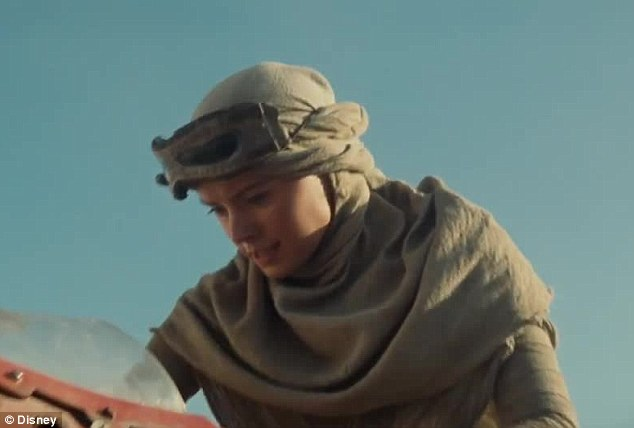New face: Daisy Ridley also features in the new trailer. The British actress is rumoured to play Han Solo and Princess Leia's adult daughter in the new film, which is set 30-years after the fall of the Empire