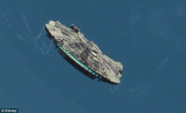 In flight: Perhaps the most enduring spaceship in the Star Wars universe, the Millenium Falcon was last seen in 1983 smash The Reurn Of The Jedi