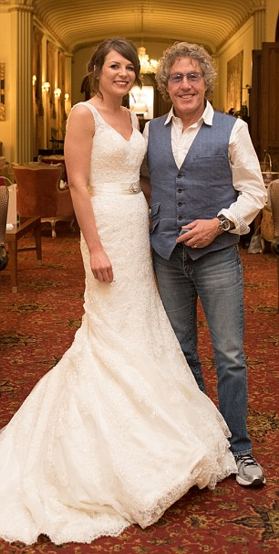 For the album: Daltrey, 70, who was staying at the same hotel, poses with bride Susan Smith