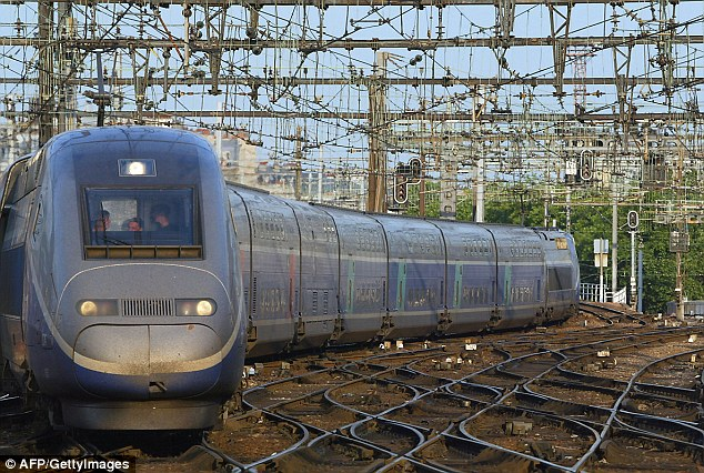 Train: An art collector  left a 13th century piece on a high speed TGV service (file photo) from Paris to Geneva