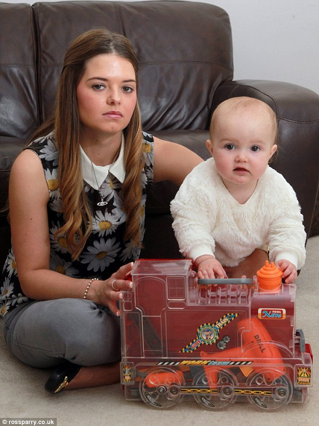 Gina Barratt, 24, found a five-inch long knife in a toy tool set her partner had bought for their 11-month-old daughter Poppy for £11.99 from Poundstretcher, which the baby girl then put into her mouth as she played