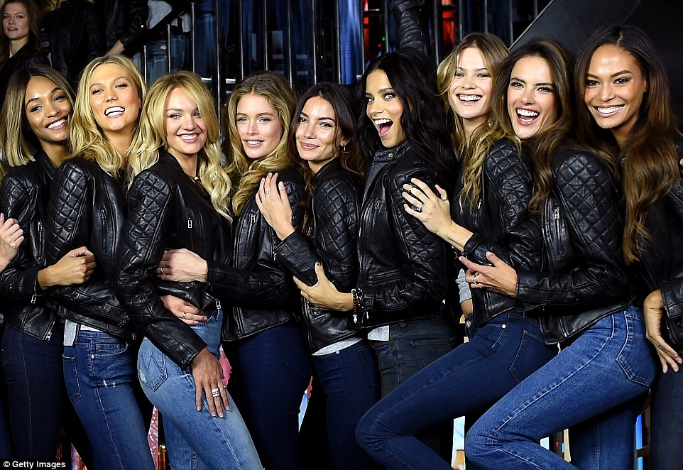 Let's get leathered: (L-R) Jourdan Dunn, Karlie Kloss, Candice Swanepoel, Doutzen Kroes, Lily Aldridge, Adriana Lima, Behati Prinsloo, Alessandra Ambrosio and Joan Smalls