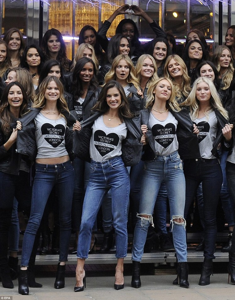 Leading the way: Behati Prinsloo, Alessandra Ambrosio, Candice Swanepoel and Elsa Hosk took centre stage