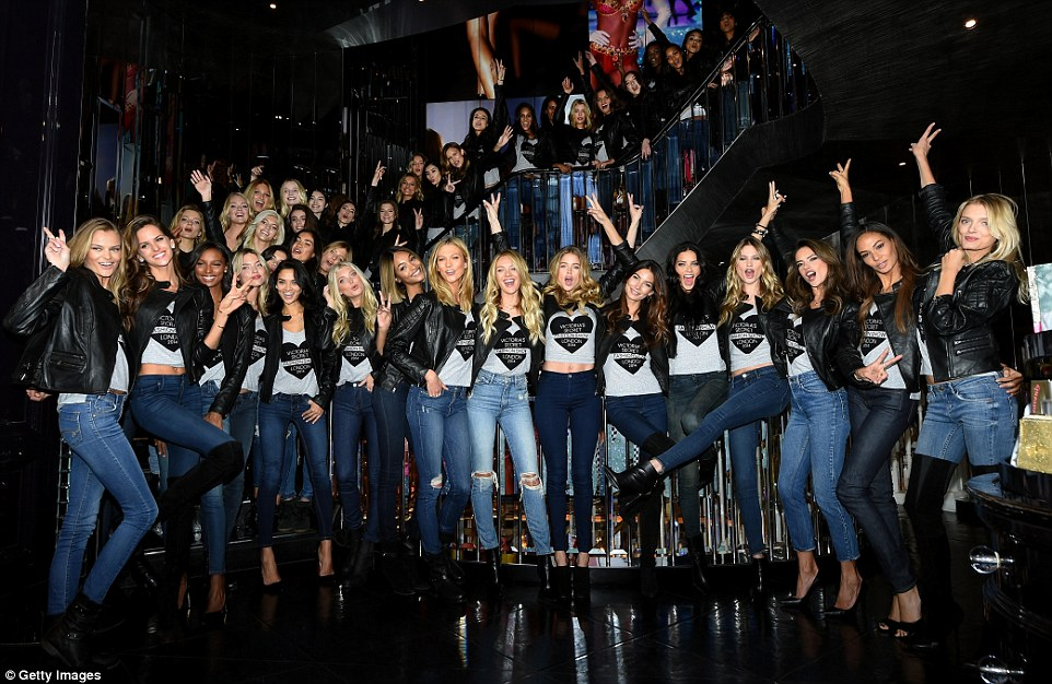 Don't mind us: (Front Row, 6th L-R) Victoria's Secret models Elsa Hosk, Jourdan Dunn, Karlie Kloss, Candice Swanepoel, Doutzen Kroes, Lily Aldridge, Adriana Lima, Behati Prinsloo, Alessandra Ambrosio, Joan Smalls and Lily Donaldson