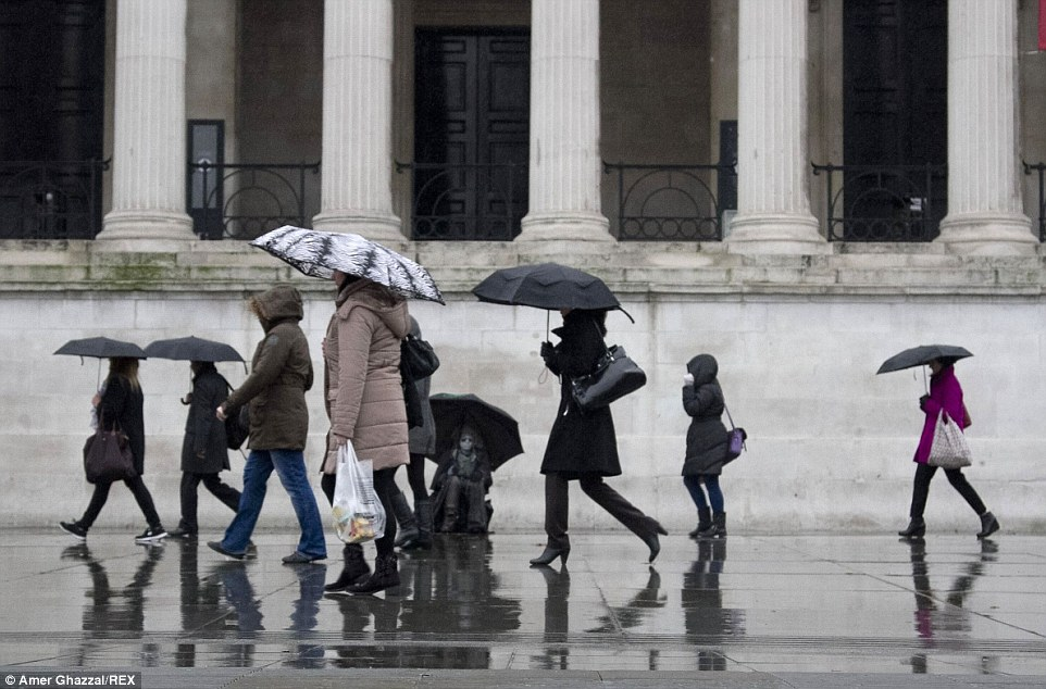 Snow could be a welcome break for Londoners who were drenched by downpours throughout the city as temperatures remained at average