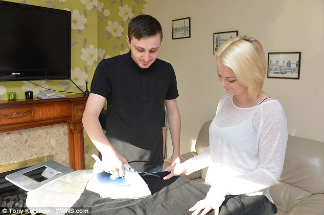 Miss Lynch (right) is unable to work due to her condition, and struggles with every day tasks like brushing her hair and the ironing. Her fiance Stephan Filmer, 22, (left) assists her, although he has to be careful as he has accidentally injured her in the past when they were 'mucking around'