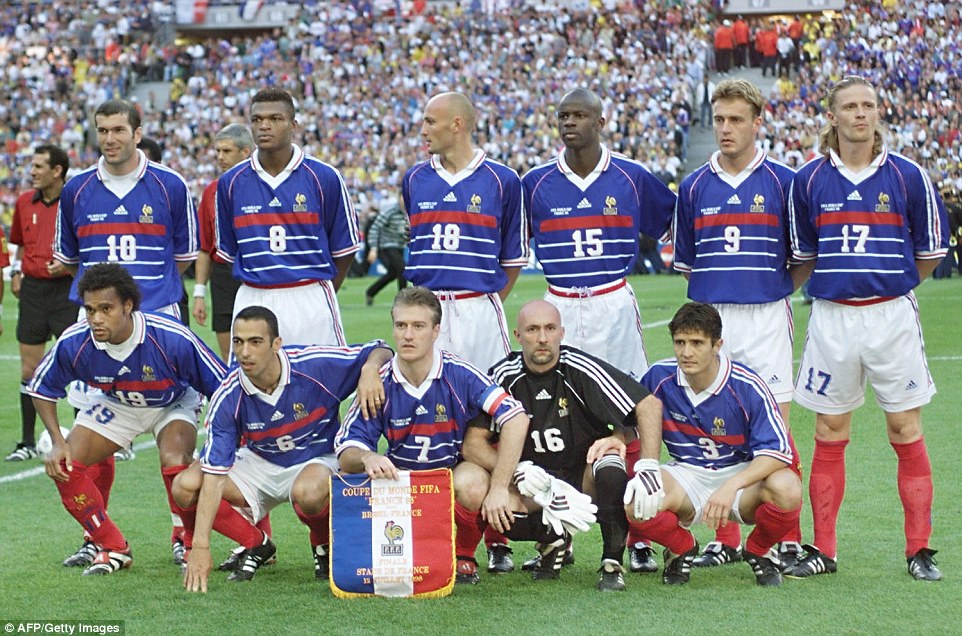 The France team prior to the 1998 World Cup final with Brazil, which they won 3-0. (From top left: Zinedine Zidane, Marcel Desailly, Frank Leboeuf, Lilian Thuram, Stephane Guivarc'h, Emmanuel Petit; bottom left, Christian Karembeu, Youri Djorkaeff, Didier Deschamps, Fabien Barthez, Bixente Lizarazu)