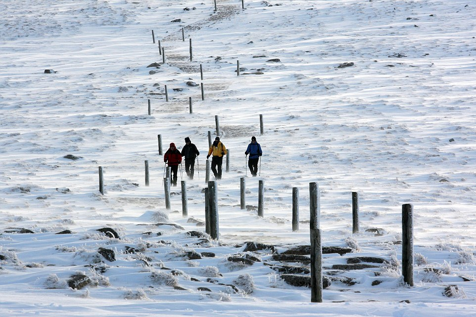 The Cairngorms, in the Scottish Highlands, are the snowiest place in the UK and have seen temperatures dip below freezing with the snow today