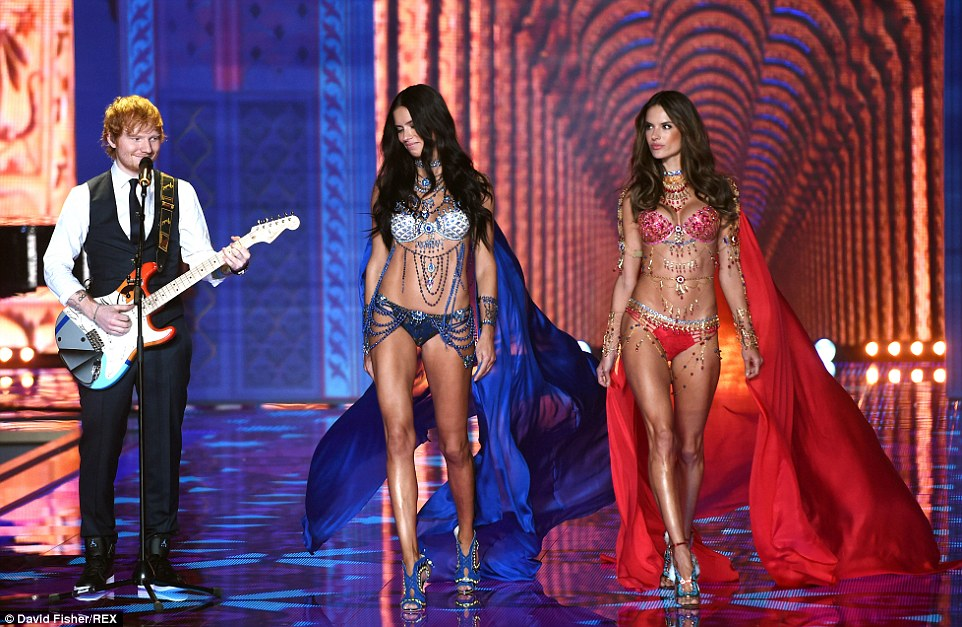 Lucky man! Ed Sheeran got to perform alongside the ladies as they stepped out in the custom-made bras, designed by Mouawad