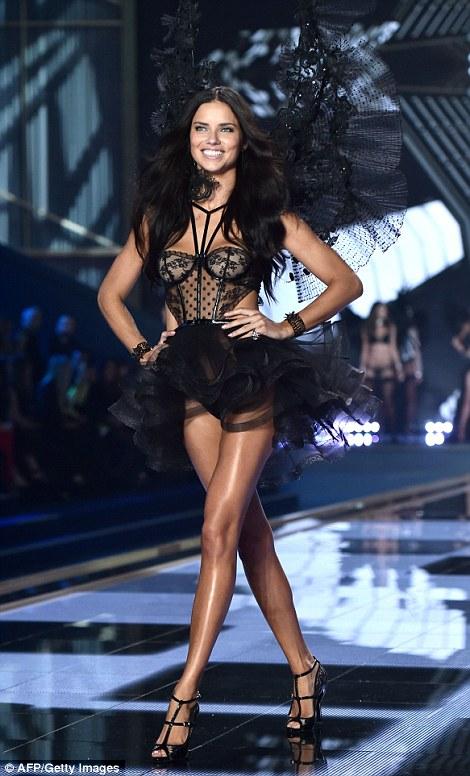 Tutu: Adriana Lima rocked a ruffled tutu and sheer corset during the Angel Ball closer, flashing her winning, gleaming smile