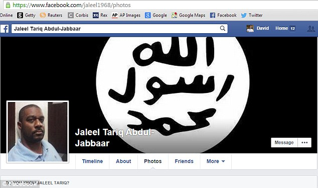 Murderous support: Abdul-Jabbaar displays the flag of ISIS on his Facebook page - onto which he posted chilling threats towards Officer Darren Wilson