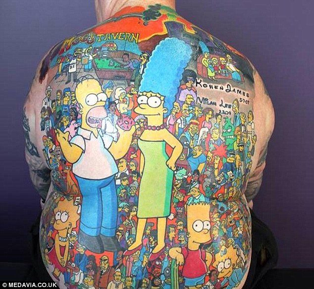 Michael Baxter has 203 characters from popular cartoon series The Simpsons tattooed across his back