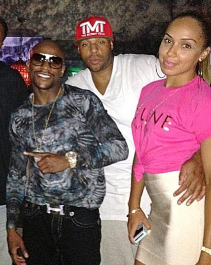 Boxer Mayweather, left, is reported to have been a witness to the deaths as Hayes had called him in a rage over his wife's infidelity. Hayes was once signed to Floyd Mayweather's  record label and the couple often partied with the boxing champ