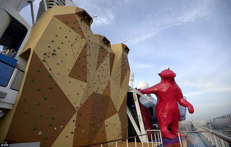 On board the world's first smart ship - Quantum of the Seas which cost $1billion - has a rock climbing wall and a giant pink bear named Felicia