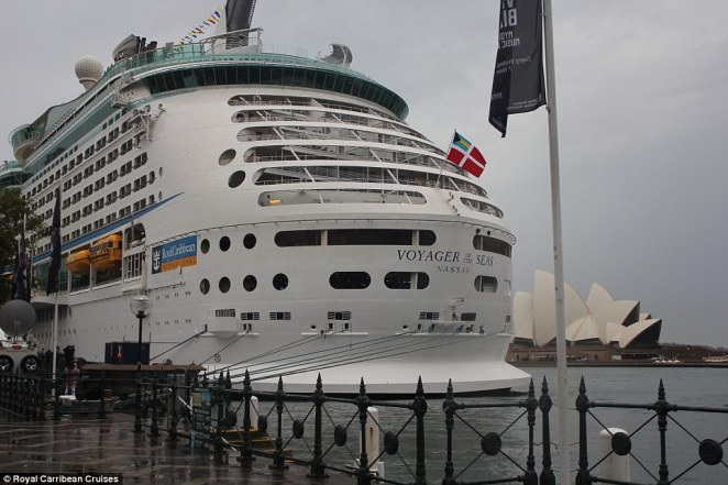 The 15-year-old Voyager of the Seas arrived in Sydney Harbour on Monday morning