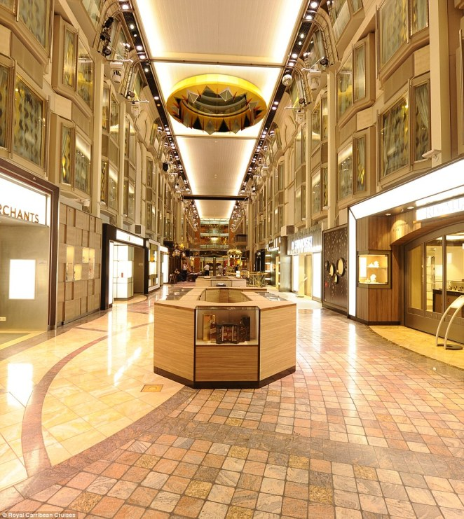 The Royal Promenade in the ship, which features high end stores, was also part of the major refurbishment