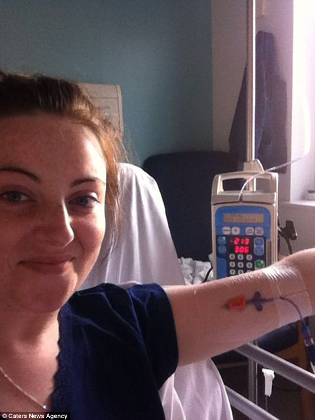 After complaining of abnormal bleeding in August 2013, Miss Glenn was given a smear test and a month later was diagnosed with cervical cancer. She is pictured undergoing the chemotherapy and radiotherapy treatment that followed